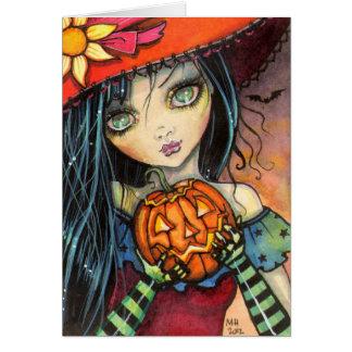 Carte Peu d'art d'imaginaire de sorcière de Halloween