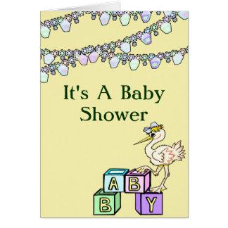 Carte Peu de baby shower de birdie en jaune
