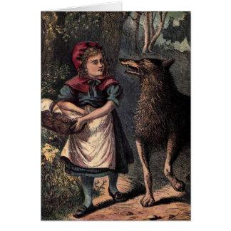Carte Peu de capuchon et loup rouges