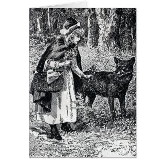 Carte Peu de capuchon rouge choyant le loup en bois