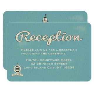 Carte Phare bleu nautique de réception de mariage
