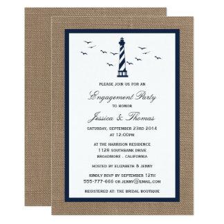 Carte Phare de bleu marine sur le fiançailles nautique