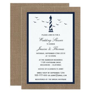 Carte Phare de marine sur le wedding shower nautique de