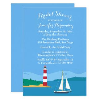Carte Phare et voilier nuptiales bleus nautiques de