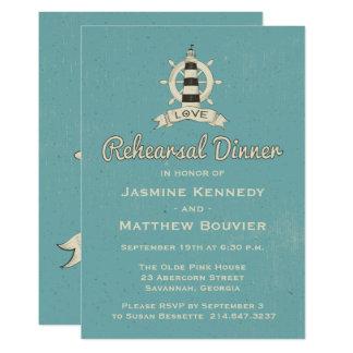 Carte Phare turquoise bleu de dîner nautique de