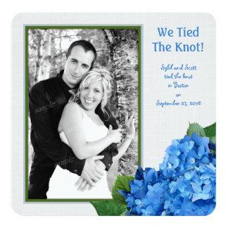 Carte photo bleu de faire-part de mariage