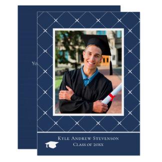 Carte photo bleu-foncé d'obtention du diplôme de
