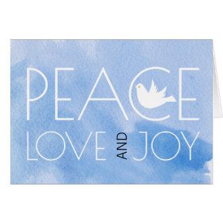 Carte Photo bleue de Noël d'aquarelle d'amour et de joie