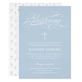 Carte Photo bleue élégante de baptême du baptême |