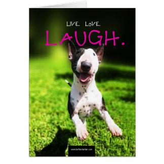"""Carte photo de bull-terrier """"vivant, amour, rire """""""