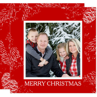 Carte Photo de famille scandinave de Noël de cône de pin