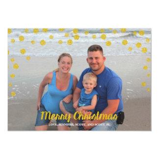 Carte photo de Joyeux Noël de confettis d'or Carton D'invitation 12,7 Cm X 17,78 Cm