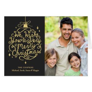 Carte Photo de Noël de famille de souhaits de
