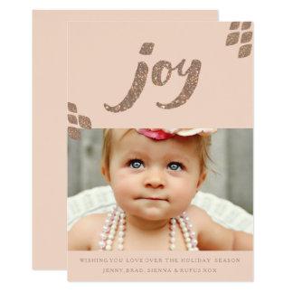 Carte photo de Noël de joie de scintillement de Carton D'invitation 12,7 Cm X 17,78 Cm