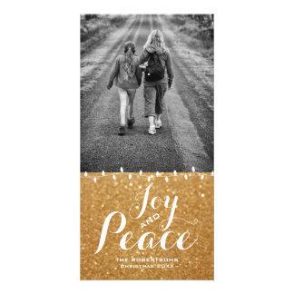 Carte photo de Noël de paix de joie des parties