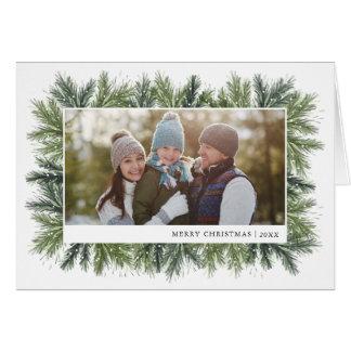 Carte photo de Noël de pins de Milou