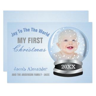 Carte Photo de Noël du bébé de garçon bleu de globe de