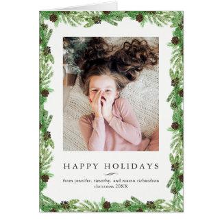 Carte Photo de Noël du pin | de vacances