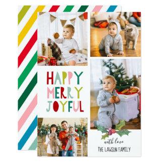 Carte photo de Noël - heureux, joyeux, joyeux