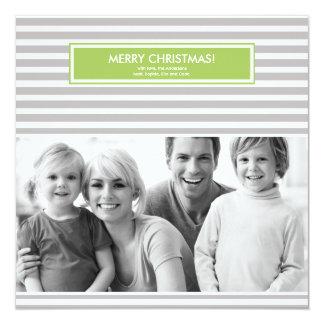 Carte photo de Noël - rayures - personnalisable Carton D'invitation 13,33 Cm