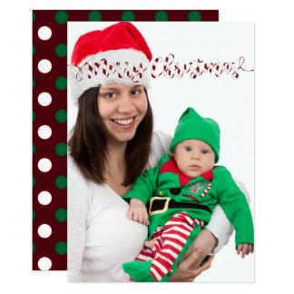 Carte photo de pois et de rayures de Noël Carton D'invitation 12,7 Cm X 17,78 Cm