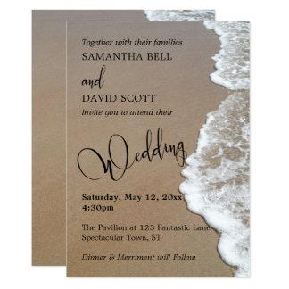 Carte Photo de sable et de plage de mousse, typographie