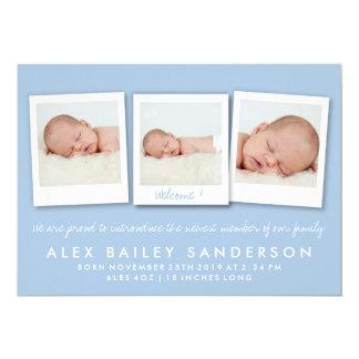 Carte photo de triple de faire-part de naissance