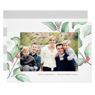 Carte photo de vacances de baies d'hiver carton d'invitation  12,7 cm x 17,78 cm