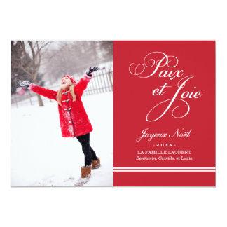 Carte Photo de Vacances | Paix et la Joie en Rouge Cartons D'invitation