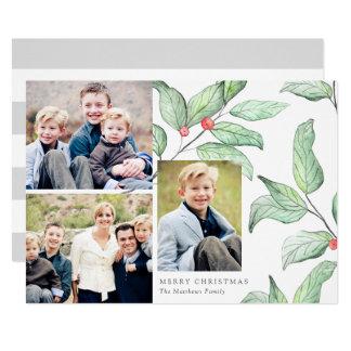 Carte photo des vacances 3 de baies d'hiver carton d'invitation  12,7 cm x 17,78 cm