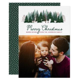 Carte photo des vacances   de Noël de la forêt   Carton D'invitation 12,7 Cm X 17,78 Cm