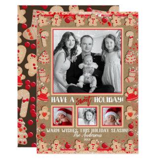 Carte Photo douce de biscuits de pain d'épice de Noël de