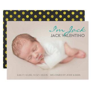 Carte photo doux d'annonces de naissance carton d'invitation  12,7 cm x 17,78 cm