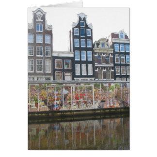 Carte photo du marché de fleur d'Amsterdam
