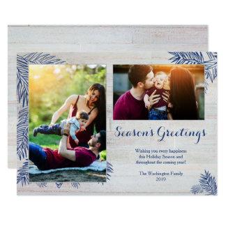Carte Photo en bois de Noël deux de planches de shiplap