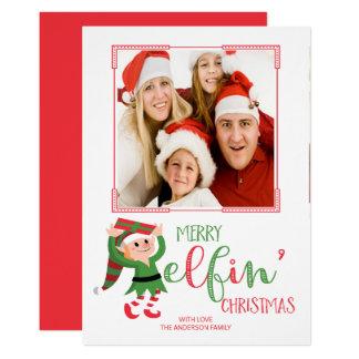 Carte photo féerique mignon de Noël d'Elf