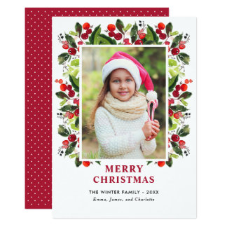 Carte Carte photo floral d'aquarelle de Noël |