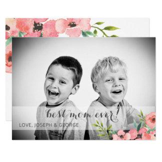 Carte photo floral de jour de mères de jolie