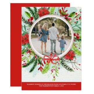 Carte photo floral de poinsettia de vacances de carton d'invitation  12,7 cm x 17,78 cm