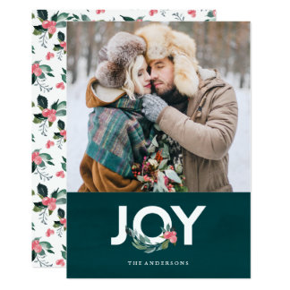 Carte photo floral de vacances de joie carton d'invitation  12,7 cm x 17,78 cm