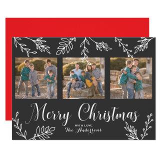 Carte photo gris de Noël blanc de feuille tiré par