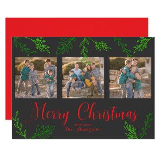 Carte photo gris de Noël de feuille tiré par la