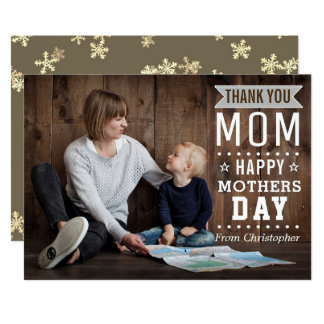 Carte Photo heureuse du jour de mère de typographie