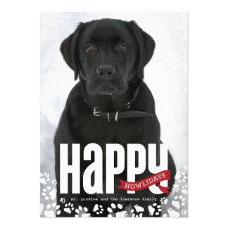 Carte photo heureux de Noël d'animal familier de H Faire-parts