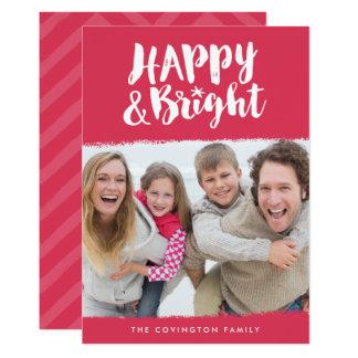Carte photo heureux et lumineux rouge et blanc de