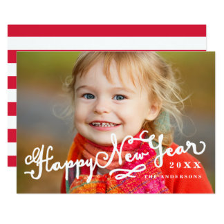 Carte photo incliné de vacances de bonne année du carton d'invitation  12,7 cm x 17,78 cm