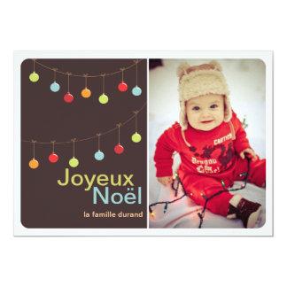 Carte photo moderne de Joyeux Noël d'ornements Carton D'invitation 12,7 Cm X 17,78 Cm