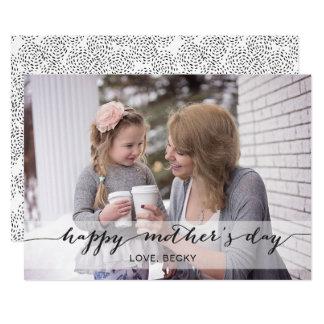 Carte photo noir du jour de mère de calligraphie