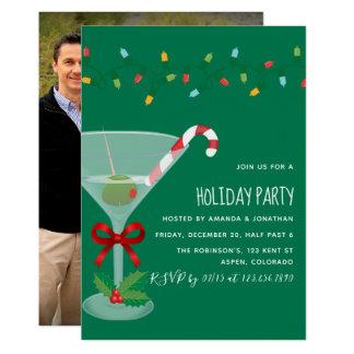 Carte Photo orientée de fête de Noël de cocktail de fête