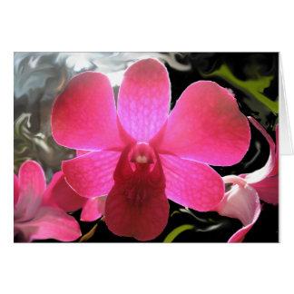 Carte photo pourpre magenta de fleur d'orchidée